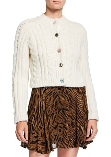 Ganni Cropped Cable-Knit Alpaca Cardigan