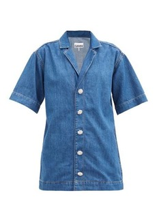Ganni Crystal-button cotton-blend denim shirt