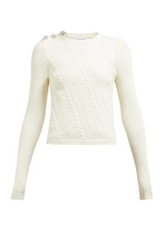 Ganni Crystal-button cotton-blend sweater