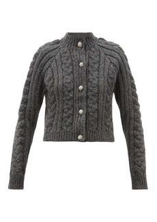 Ganni Crystal-buttoned cabled alpaca-blend cardigan