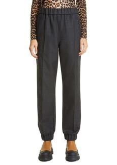 Ganni Cuffed Wool Blend Suitng Pants