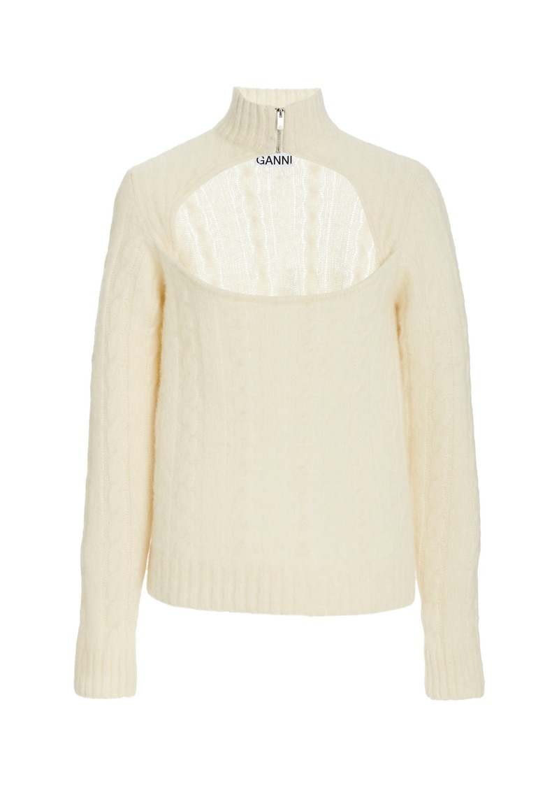 Ganni Cut-Out Wool-Blend Knit Top