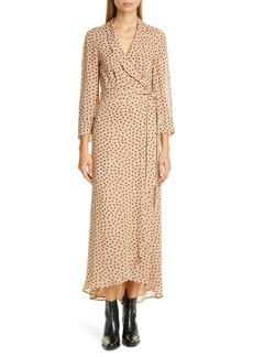 Ganni Dot Georgette Wrap Maxi Dress