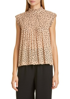 Ganni Dot Pintuck Ruffle Swing Top