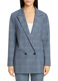Ganni Double Breasted Plaid Suiting Blazer