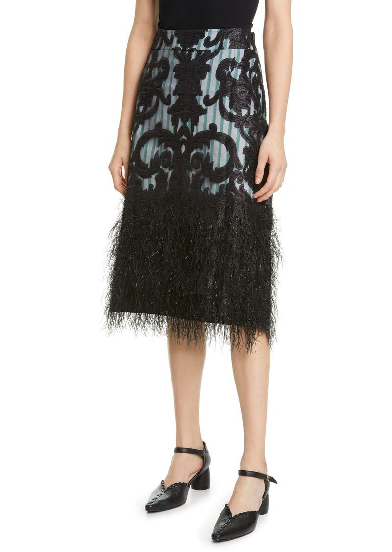Ganni Feather Hem Embellished Skirt