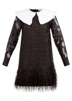 Ganni Feather-trimmed baroque-brocade mini dress