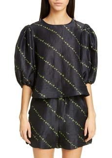 Ganni Floral Diagonal Stripe Print Silk & Linen Top