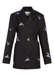 Ganni Floral Embroidered Wool Wrap Blazer