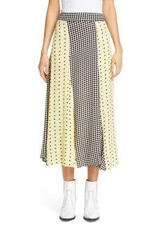 Ganni Floral Print Crepe Midi Skirt