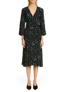 Ganni Floral Print Crepe Midi Wrap Dress