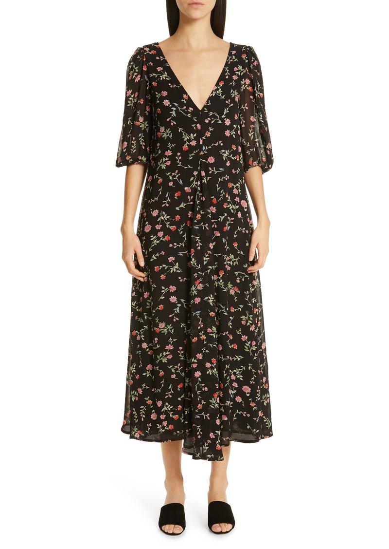 644da520f1 Ganni Ganni Floral Print Georgette Midi Dress