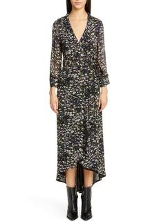 Ganni Floral Print Georgette Midi Wrap Dress