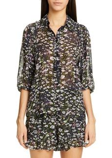 Ganni Floral Print Georgette Shirt
