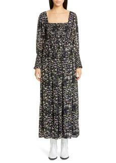 Ganni Floral Print Long Sleeve Georgette Maxi Dress