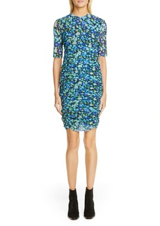Ganni Floral Print Mesh Body-Con Dress