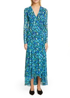 Ganni Floral Print Mesh Long Sleeve Maxi Wrap Dress