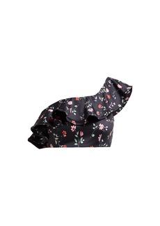 Ganni Floral-print one-shoulder bikini top