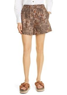 Ganni Floral Print Organic Cotton Poplin Shorts