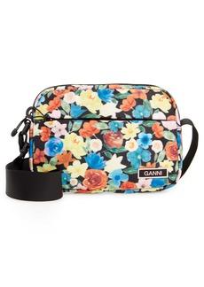 Ganni Floral Print Tech Fabric Camera Crossbody Bag