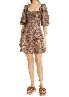 Ganni Floral Puff Sleeve Organic Cotton Poplin Dress