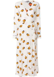 Ganni floral wrap dress - White
