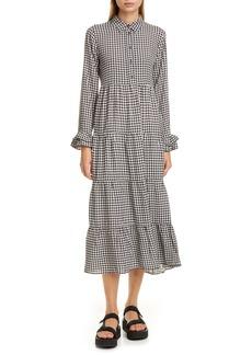 Ganni Gingham Print Crepe Long Sleeve Midi Dress