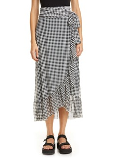 Ganni Gingham Print Mesh Midi Wrap Skirt
