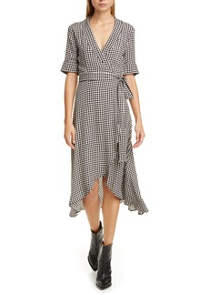 Ganni Gingham Print Midi Wrap Dress