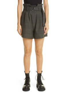 Ganni Glen Plaid Paperbag Waist Shorts