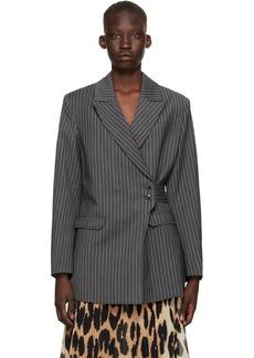 GANNI Grey Stripe Suiting Blazer