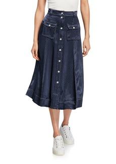 Ganni Heavy Satin Dot-Print Midi Skirt