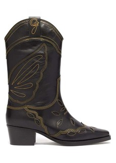 Ganni High Texas leather cowboy boots