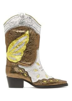 Ganni High Texas metallic-leather Western boots