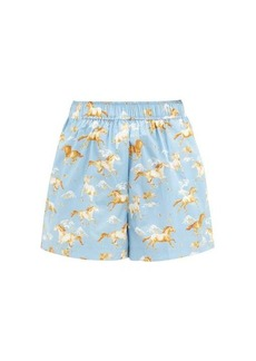 Ganni Horse-print cotton shorts