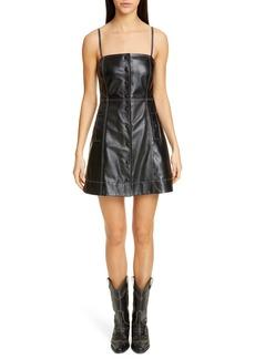 Ganni Lambskin Leather Minidress