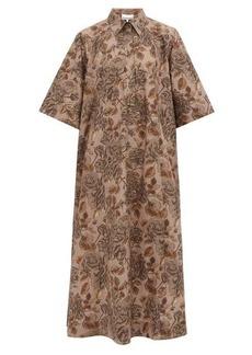 Ganni Leaf-print organic cotton-poplin midi shirt dress