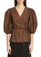 Ganni Leopard Print Balloon Sleeve Organic Cotton Wrap Top