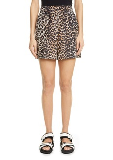 Ganni Leopard Print Cotton & Silk Shorts