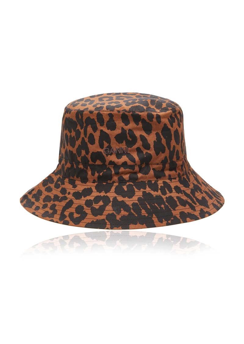 Ganni Leopard-Print Cotton Poplin Bucket Hat
