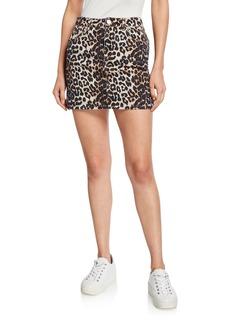 Ganni Leopard-Print Denim Mini Skirt