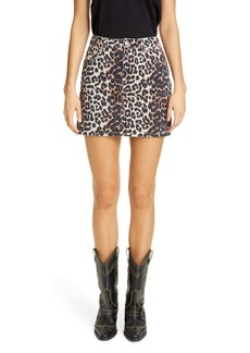 Ganni Leopard Print Denim Miniskirt