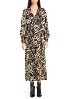 Ganni Leopard Print Long Sleeve Silk Satin Midi Wrap Dress