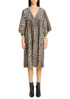 Ganni Leopard Print Oversize Cotton & Silk Midi Dress