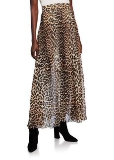 Ganni Leopard-Print Pleated Georgette Skirt