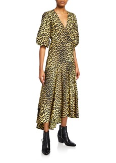 Ganni Leopard-Print Puff-Sleeve Wrap Dress