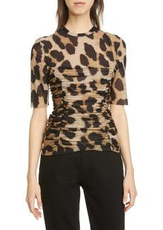 Ganni Leopard Print Ruched Mesh Top