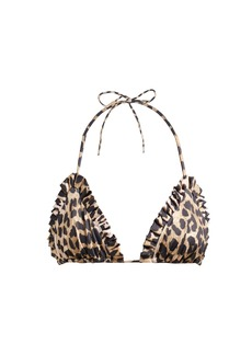 Ganni Leopard-print ruffled bikini top