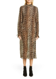 Ganni Leopard Print Sheer Georgette Long Sleeve Midi Dress