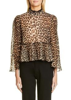 Ganni Leopard Print Sheer Georgette Top